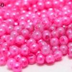 ลูกปัดมุก พลาสติก สีชมพู 4มิล 1 ขีด (3,553ชิ้น)