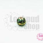 ลูกปัดกังไสทิเบต สีเขียว-กรม-ขาว 12X11มิล(1ชิ้น)