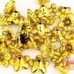 ลูกปัดพลาสติกเคลือบสีทอง ดอกไม้ 12X6มิล (1ขีด/379ชิ้น)