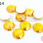 เพชรแต่ง กลม สีเหลืองทองเหลือบรุ้ง ไม่มีรู 14มิล(10ชิ้น)