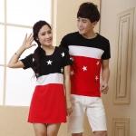 เดรสคู่รักเกาหลี แฟชั่นคู่รัก ชายเสื้อแขนสั้น+ หญิงเดรสแขนสั้น ลายเมกา +พร้อมส่ง+