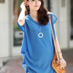 MS196 เสื้อคลุมท้อง แฟชั่นเกาหลี โทนสีน้าเงิน ตรงแขนแต่งด้วยมุก เนื้อผ้าซีฟองอย่างดี ใส่สบายค่ะ