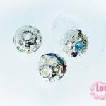 ตัวแต่งสร้อยหินนำโชคบอลเพชร แถวเดียวสีเงิน เพชร สีรวม 8 มิล