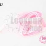 เชือกผ้า ริบบิ้นกำมะยี่ สีชมพูอ่อน (1เส้น/1หลา)