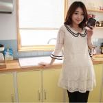 JK017 ชุดคลุมท้องแฟชั่นเกาหลี สีขาวล้วน ผ้าลูกไม้ทั้งชุด คอบัวแขน 4 ส่วน แต่ระบายชาย แขน เนื้อผ้านิ่มมากๆ ค่ะ