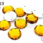 เพชรแต่ง กลม สีเหลืองทอง มีรู 16มิล(10ชิ้น)
