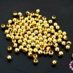 ลูกปัดโลหะ สีทอง กลม 3มิล (1ขีด)