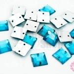เพชรแต่ง สี่เหลี่ยม สีฟ้า มีรู 10มิล(20ชิ้น)