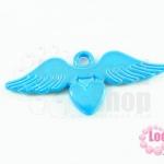 จี้โรเดียม หัวใจมีปีก สีฟ้า 25 มิล