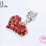ตัวแต่งโรเดียมชุบเงิน จี้รูปหัวใจ เพชรสีแดง กว้าง17มิลยาว26มิล