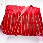 เชือกผ้า ริบบิ้นกำมะยี่ สีแดงเลือดหมู (1ม้วน/50หลา)