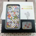 Case iPhone4/4s Cosmic Blossom เคสแข็งลายดอกไม้พร้อมสติ๊กเกอร์ปุ่มกด
