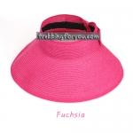 หมวกแฟชั่นเกาหลี หมวกกันแดดทรงปีกกว้าง : สีชมพู Fuchsia MN005