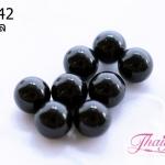 ลูกปัดแก้วมูราโน่ ไม่มีรู ทรงกลม สีดำ 10 มิล(1ชิ้น)