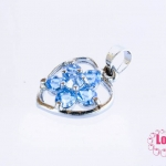 ตัวแต่งโรเดียม จี้ลูกปัด ตกแต่งสร้อยหินนำโชค รูปหัวใจล้อมเพชร สีฟ้า ขนาด 13x22 มิล