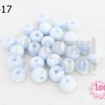 ลูกปัดแก้ว ตาแมว สีขาวอมฟ้า 9มิล (1ขีด/125ชิ้น)