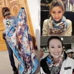 ผ้าพันคอแฟชั่นสไตส์เกาหลี ลายอาณาจักร โทนสีน้ำเงิน ผ้าชีฟอง ผ้านุ่ม ดีไซต์เก๋ไก๋ ใส่แล้วดูดีมีสไตส์