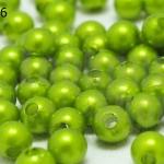 ลูกปัดมุก พลาสติก สีเขียวมะนาว 5มิล 1 ขีด (1,820ชิ้น)