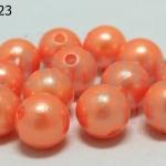 ลูกปัดมุก พลาสติก สีส้มอ่อน 12มิล 1 ขีด (118ชิ้น)