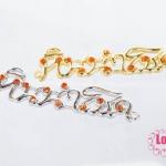 จี้หินนำโชค สีทองและสีเงิน ประดับเพชรสีส้ม 38x10 มิล