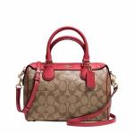 กระเป๋า COACH MINI BENNETT SATCHEL IN SIGNATURE KHAKI/CLASSIC RED F36702
