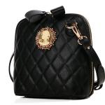 กระเป๋าแฟชั่นเกาหลี แบรนด์ Axixi ลายตารางแนวตั้งหนัง Pu สีดำ