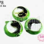 ลูกปัดกังไส สีเขียวอ่อน ทรงกลมแบน 14x5 มิล