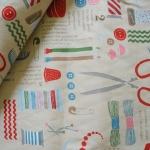 ผ้าฝ้ายของ D's Selection ลาย Sewing Box รุ่น Manifiq สีขาวครีม