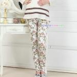 กางเกงขายาวผ้าคอตตอน ลายดอกไม้ สีขาว : SIZE XL รหัส PN175