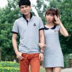 +พร้อมส่ง+ เสื้อคู่รักเกาหลี แฟชั่นคู่รัก ชายเสื้อคอปกแขนสั้น + หญิงเดรสคอปกแขนสั้น ลายสมอ สีเทา