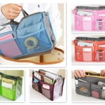 กระเป๋าจัดระเบียบ Handbag Purse Dual Organizer Insert mp3 phone cosmetic Storage Nylon Bag in Bag 140/240