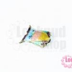 ลูกปัดกังไส นกฮูก สีฟ้า-ชมพู-เหลือง 14X16มิล(1ชิ้น)