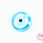 ลูกปัดลูกตา แบน สีฟ้า 30x32 มิล รู 5 มิล หนัก