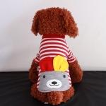 เสื้อลายทางหมีน้อยสีแดงไซด์ XS S M L XL
