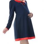 MS203 เสื้อคลุมท้องแฟชั่นเกาหลี โทนสีกรม คอปกสีแดง แขนยาว ด้านหลังมีเชือกผูกเลื่อนได้ตามอายุครรภ์ เนื้อผ้านิ่ม