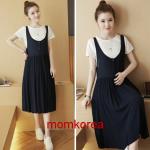 MK84001 เอี้ยมคลุมท้องแฟชั่นเกาหลี เสื้อสีขาว+เดรสสีดำ ผ้านิ่มใส่สบายมากๆ ค่ะ หลังคลอดใส่ได้ค่ะ