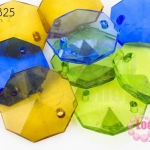 ลูกปัดพลาสติก 8เหลี่ยม คละสี 20มิล(1ขีด/80ชิ้น)