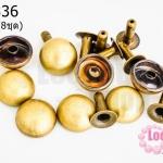 หมุดติดเสื้อ กลม สีทองเหลือง 12มิล(8ชุด)