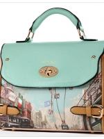 กระเป๋าหนัง PU แบรนด์ Axixi ลายนิวอิงแลนด์ย้อนยุค สีโทนครีมแต่งด้วยหนังสีฟ้ามิ้น