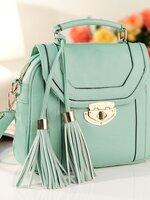 กระเป๋า หนัง pu axixi แต่งพู้เก๋ๆ สีฟ้า(รับประกันเหมือนแบบ 100%)