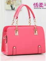 กระเป๋าแฟชั่นเกาหลี หนังแก้วปั้มลายนูนในตัว สีชมพูสด-แตงโม