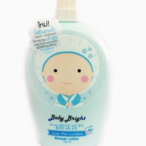 โลชั่นอาบน้ำ Baby bright goat milk collagen shower lotion 750ml.