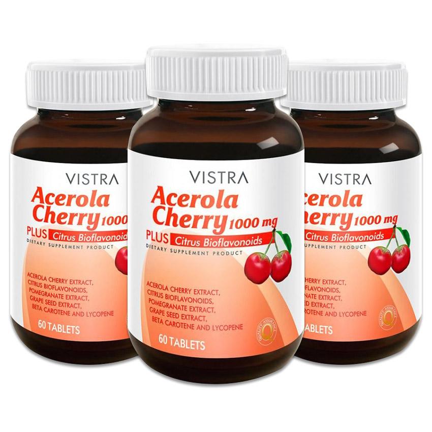 Vistra Acerola Cherry 1,000 mg. (60 เม็ด x3ขวด)