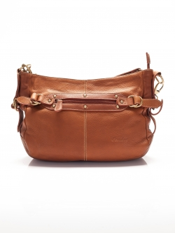 LDB3046 Judith กระเป๋าหนังแท้ ทรงนิ่ม สายสะพายถอดเปลี่ยนได้2แบบ สีคาราเมล