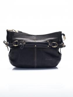 LDB3046 Judith กระเป๋าหนังแท้ ทรงนิ่ม สายสะพายถอดเปลี่ยนได้2แบบ สีดำ