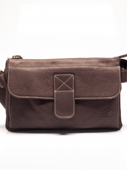 LDB3051 Sairiz กระเป๋าหนังแท้ 3ลอน ด้านหน้ามีช่องเก็บของฝาปิด สีน้ำตาล