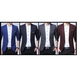 SALE!!เสื้อสูท แฟชั่นชาย สไตล์อังกฤษลายสก็อตปกเปิด ลินินคอตตอน สีน้ำเงิน ฟ้า เทา แดง Size No.33 35 37 39 41