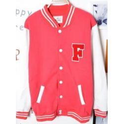 เสื้อแจ็คเก็ต เบสบอล โลโก้ F No.36 สีชมพูขาว