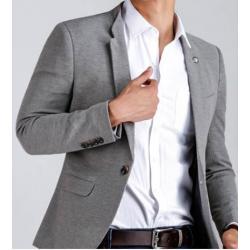 สุดคุ้มฟิตเข้ารูป!!เสื้อสูทแฟชั่นชาย ปกเปิด ปกตั้ง คอจีน2สไตล์ แต่งพับ shawl กระดุมพิเศษ size No.33 35 37 เทา ดำ