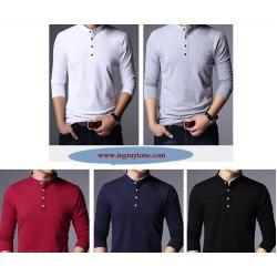 ใหญ่พิเศษ!!เสื้อยืดคอจีนปกตั้ง แขนยาว แฟชั่น สีขาว น้ำเงิน ดำ เทา แดง size No.36 38 40 42 44 46 48